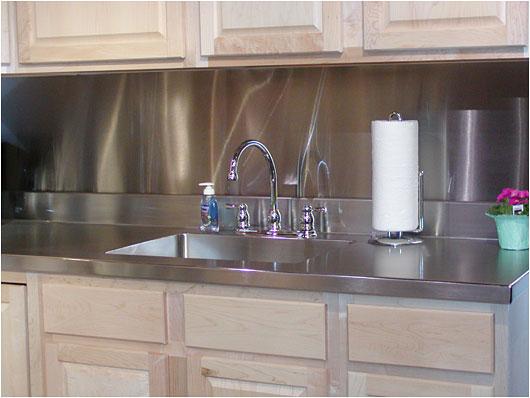 Modern Furnishings: Stainless Steel Sink, Counter, Backsplash Set Off The  Home