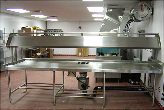 Custom Made Commercial Kitchen Fixtures   Stainless Steel Soiled Dish Tables